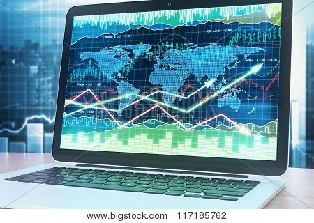 Business Chart With Arrows Up On Laptop Screen