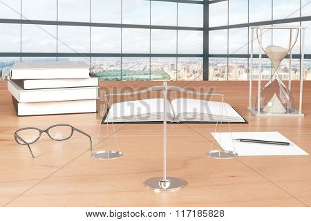 Scales, Eyeglasses, Book And Hourglass On Wooden Table In The Room With Big Windows And City View