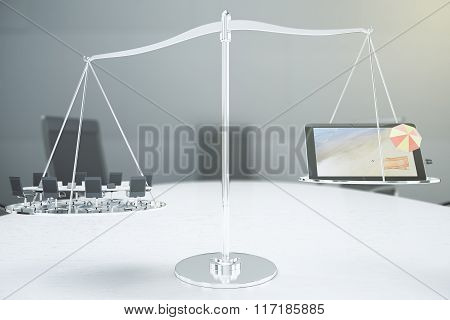 Right Choice Concept With Conference Room And Digital Tablet With 3D Beach On The Scales