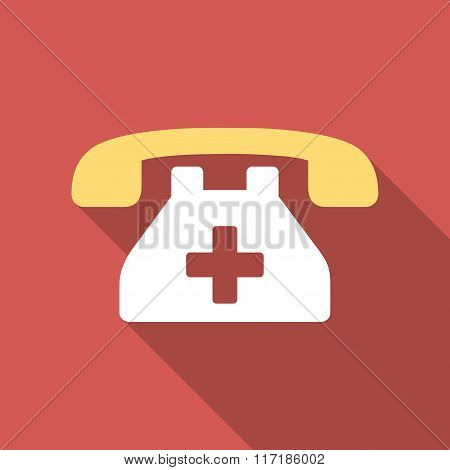 Clinic Phone Flat Square Icon with Long Shadow