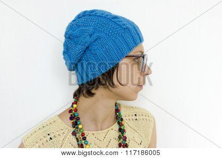 Portrait Of Beautiful Woman In Glasses Wearing Knitted T-short A