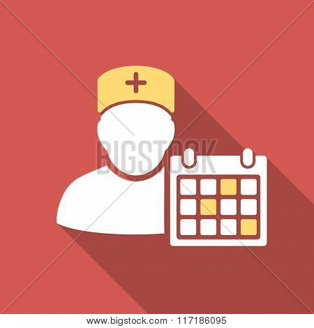Doctor Calendar Flat Square Icon with Long Shadow