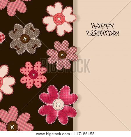 Holiday Card Or Invitation With Flower Patchworks