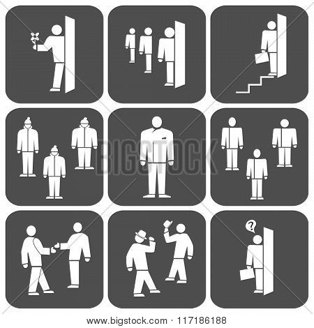 People icon set. Office, meeting, business symbol. Standing one, two, group men. White signs on dark