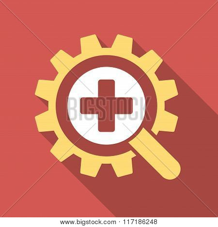 Find Medical Technology Flat Square Icon with Long Shadow