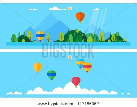 Two horizontal banner - Launch balloons. Group of balloons over the clouds