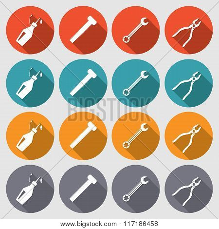 Tools icons set. Glue, pliers, wrench key, screw bolt. Repair fix tool symbols. Round red, turquoise