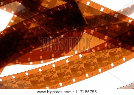 Old Negative 16 Mm Film Strip On White Background