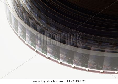 Old Positive 16 Mm Film Strip On White Background
