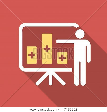 Medical Bar Chart Presentation Flat Square Icon with Long Shadow