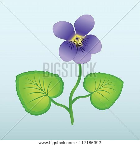 Spring flower Viola, violet. Floral icon. Violet, lilac bud with stem and leaves on light blue backg