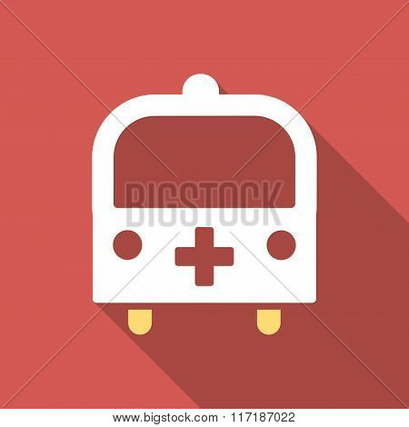 Medical Bus Flat Square Icon with Long Shadow