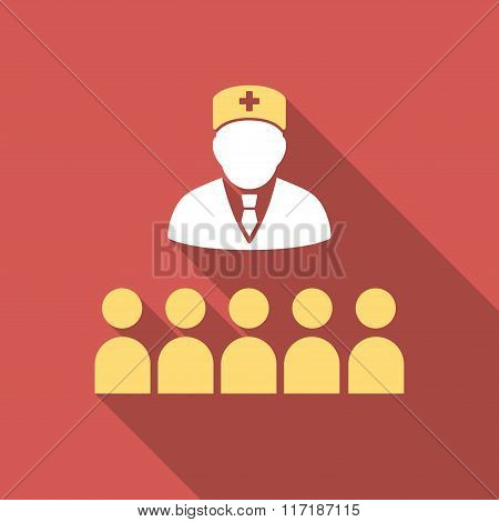 Medical Class Flat Square Icon with Long Shadow