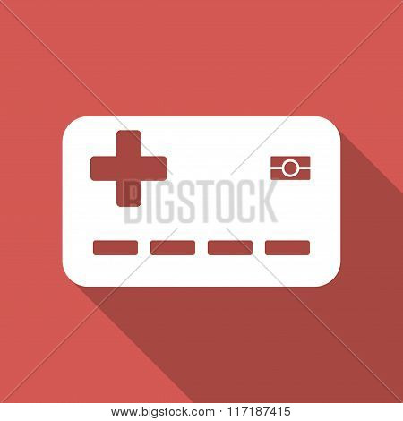 Medical Insurance Card Flat Square Icon with Long Shadow