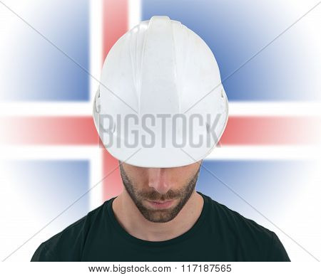 Engineer With Flag On Background - Iceland