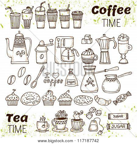 Hand Draw Coffee And Tea Collection. Sketch Doodles Coffee And Tea Elements