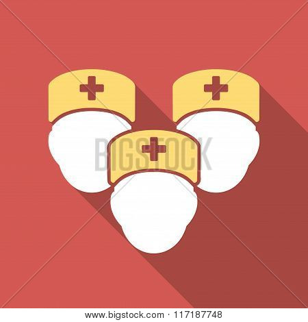 Medical Staff Flat Square Icon with Long Shadow