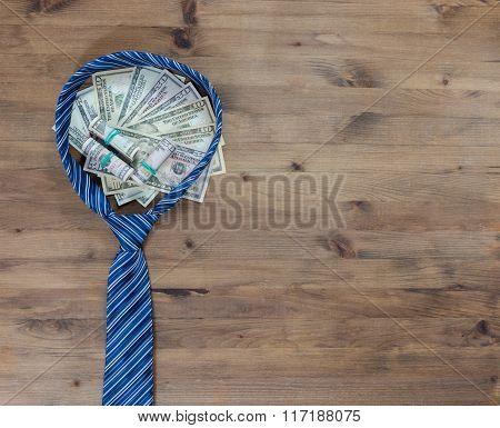 gentleman concept. Tie and dollars