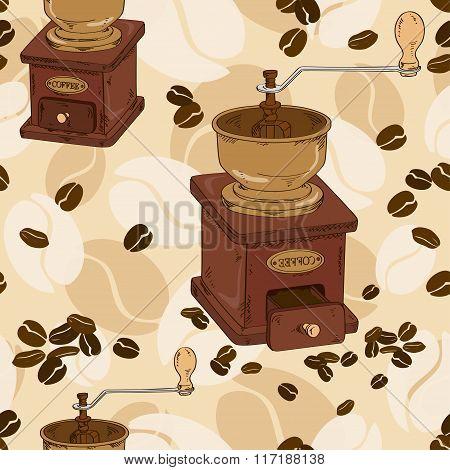 Seamless Pattern Of Coffee Grinder.