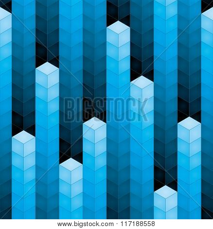 3d blue cubes equalizer seamless background