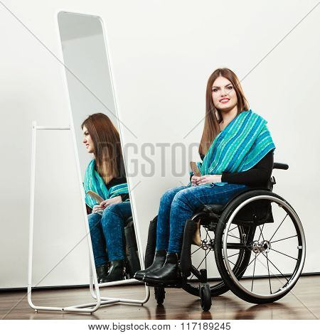 Invalid Girl On Wheelchair Combing Hair