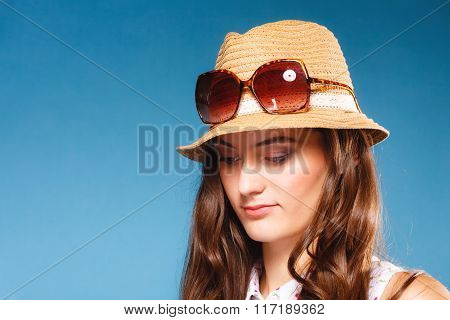 Girl In Summer Clothes Straw Hat And Sunglasses