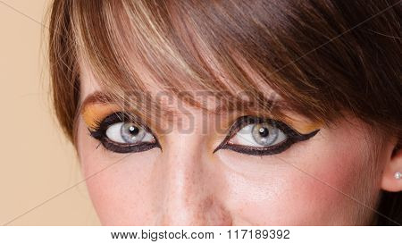 Eyes Of Orient Girl With Makeup