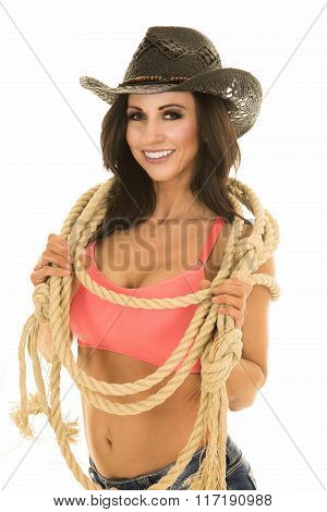 Cowgirl In Denim Shorts And Pink Sports Bra Rope Around Neck Look
