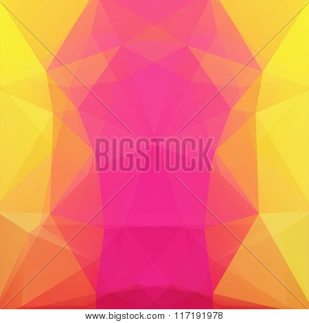 Background Made Of Triangles. Pink, Yellow, Orange Colors. Square Composition With Geometric Shapes.