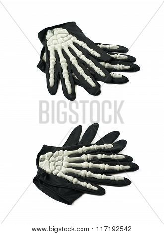 Skeleton hand glove isolated