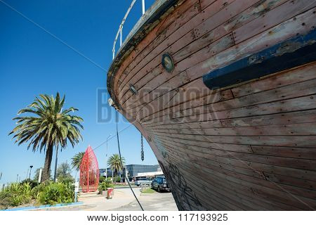 Bow Of Old Timber Boat