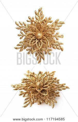 Golden Christmas decoration star isolated