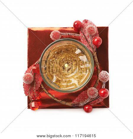 Festive Christmas gel candle isolated