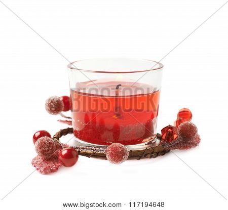 Red gel candle isolated