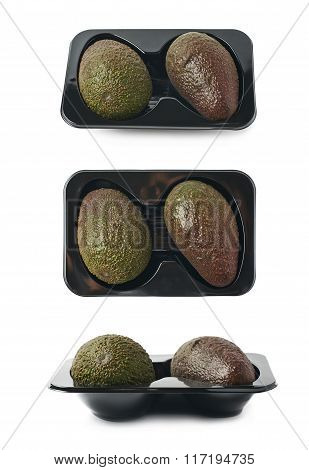 Two avocados in a plastic case