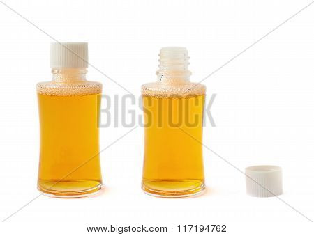 Small glass vial bottle isolated