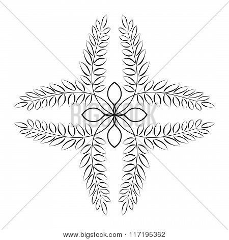 Cross tattoo. Laurel wreath. Abstract black ornament on white background. Defense, peace, glory symb