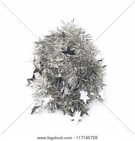 Tinsel garland pile isolated