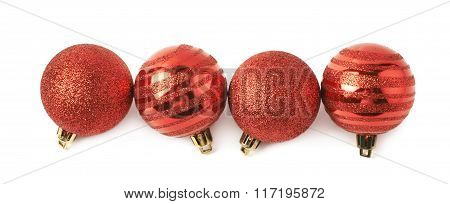 Line of Christmas balls isolated