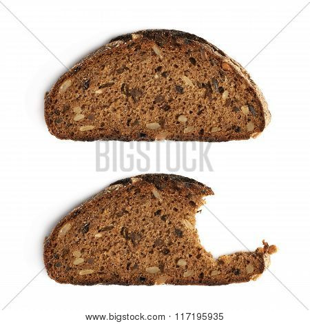 Two pieces of bread isolated