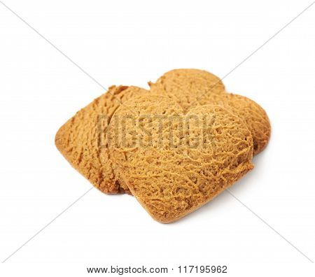 Pile of heart shaped gingerbread cookies