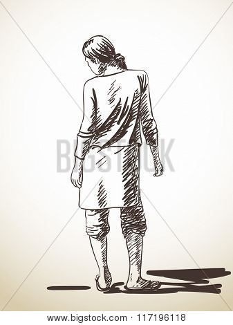 Sketch of standing woman, Hand drawn illustration
