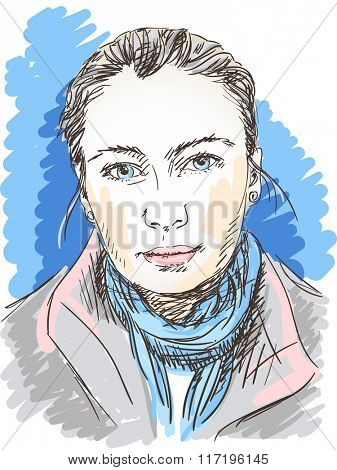Beautiful young woman portrait, Hand drawn illustration, Vector sketch