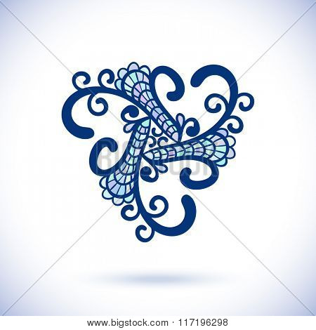 Geometric triangular design element, Ornamental blue mandala