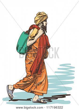 Sketch of walking sadhu, Hand drawn illustration