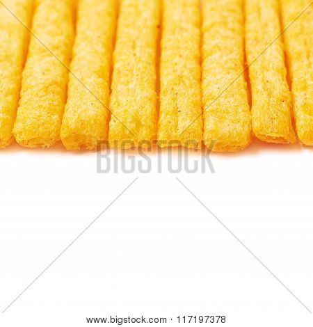 Cheese puff sticks isolated