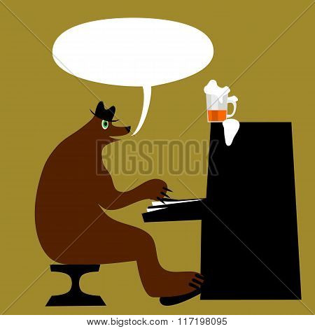 Green-eyed brown bear in a hat sitting on a chair and playing the piano, until it burst keys.