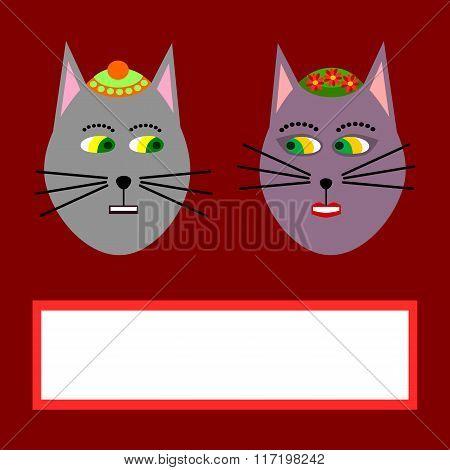 Cute cartoon animals couple - cats