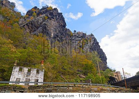 Harpers Ferry railroad tunnel and Appalachian Mountains West Virginia USA.