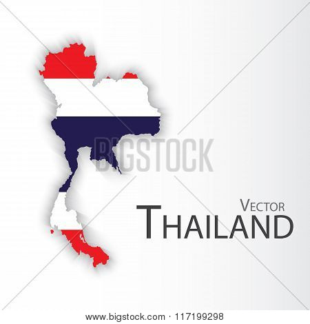 Thailand Flag And Map On Gray Color Background